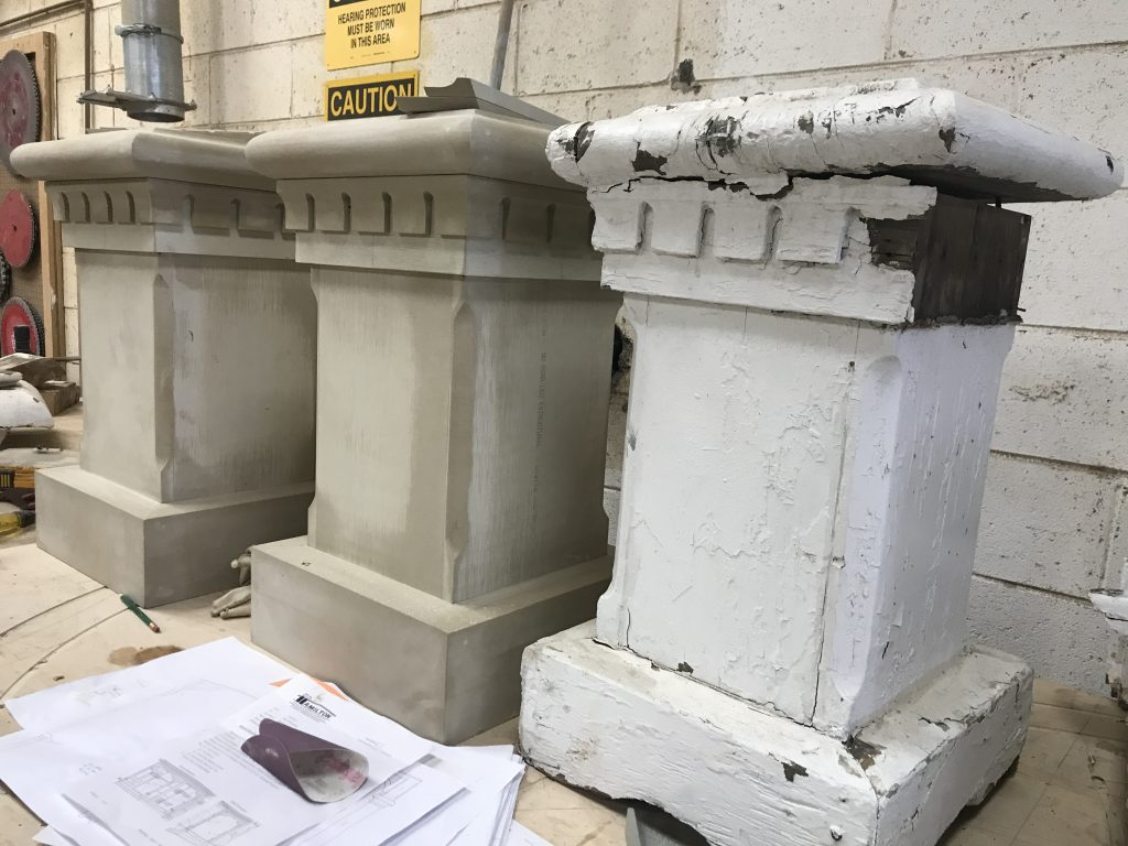Gothic porch restoration, before-and-after columns
