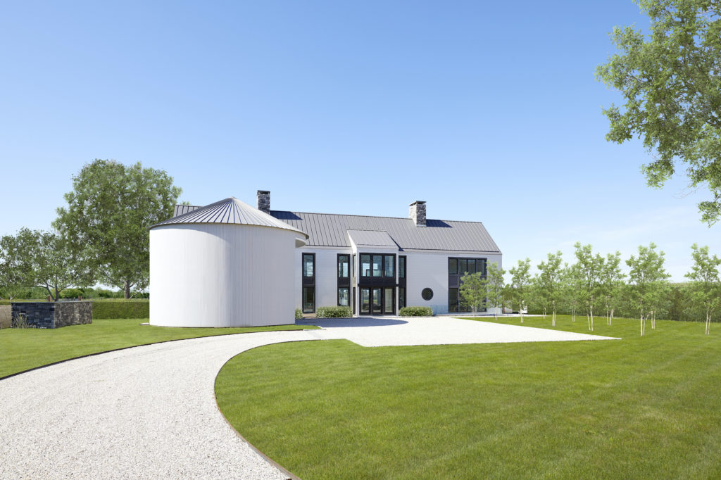 Front of modern farmhouse in Sagaponack, New York featuring custom TruExterior siding by Duration Moulding & Millwork